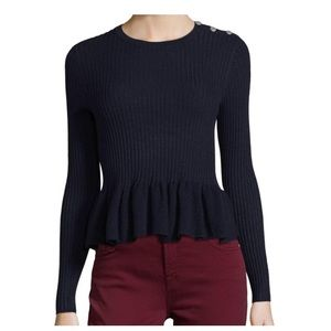 Rebecca Taylor Peplum Ribbed Sweater